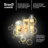 3D realistic cosmetic bottle ads template. Cosmetic brand advertising concept design with bubbles and sparkles.  Royalty Free Stock Photos