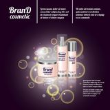 3D realistic cosmetic bottle ads template. Cosmetic brand advertising concept design with bubbles and sparkles.  Stock Images