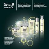 3D realistic cosmetic bottle ads template. Cosmetic brand advertising concept design with bubbles and sparkles.  Royalty Free Stock Image