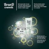 3D realistic cosmetic bottle ads template. Cosmetic brand advertising concept design with bubbles and sparkles.  Stock Photos