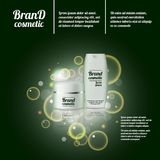 3D realistic cosmetic bottle ads template. Cosmetic brand advertising concept design with bubbles and sparkles.  Stock Image
