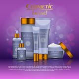 3D realistic cosmetic bottle ads template. Cosmetic brand advertising concept design with glitters and bokeh background.  Royalty Free Stock Images