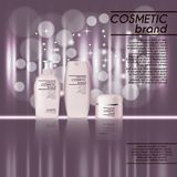 3D realistic cosmetic bottle ads template. Cosmetic brand advertising concept design with glitters and bokeh background.  Royalty Free Stock Photos