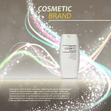 3D realistic cosmetic bottle ads template. Cosmetic brand advertising concept design with glitters and bokeh background.  Stock Image