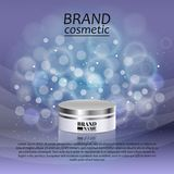 3D realistic cosmetic bottle ads template. Cosmetic brand advertising concept design with glitters and bokeh background.  Stock Photography