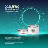 3D realistic cosmetic bottle ads template. Cosmetic brand advertising concept design with glitters and sparkles abstract sky backg Royalty Free Stock Photography