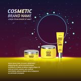 3D realistic cosmetic bottle ads template. Cosmetic brand advertising concept design with glitters and sparkles abstract sky backg. Round Royalty Free Stock Image