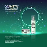 3D realistic cosmetic bottle ads template. Cosmetic brand advertising concept design with glitters and sparkles abstract sky backg. Round Stock Photography
