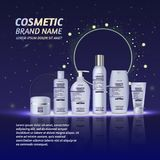 3D realistic cosmetic bottle ads template. Cosmetic brand advertising concept design with glitters and sparkles abstract sky backg. Round Stock Images