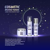 3D realistic cosmetic bottle ads template. Cosmetic brand advertising concept design with glitters and sparkles abstract sky backg. Round Royalty Free Stock Photo