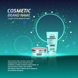 3D realistic cosmetic bottle ads template. Cosmetic brand advertising concept design with glitters and sparkles abstract sky backg Royalty Free Stock Image