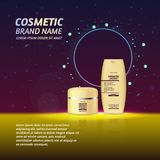 3D realistic cosmetic bottle ads template. Cosmetic brand advertising concept design with glitters and sparkles abstract sky backg Royalty Free Stock Photos