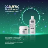 3D realistic cosmetic bottle ads template. Cosmetic brand advertising concept design with glitters and sparkles abstract sky backg Stock Photos