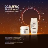 3D realistic cosmetic bottle ads template. Cosmetic brand advertising concept design with glitters and sparkles abstract sky backg Stock Photo