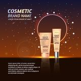 3D realistic cosmetic bottle ads template. Cosmetic brand advertising concept design with glitters and sparkles abstract sky backg. Round Stock Photo