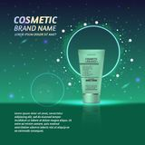 3D realistic cosmetic bottle ads template. Cosmetic brand advertising concept design with glitters and sparkles abstract sky backg Royalty Free Stock Images