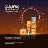 3D realistic cosmetic bottle ads template. Cosmetic brand advertising concept design with glitters and sparkles abstract sky backg Royalty Free Stock Photo