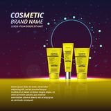 3D realistic cosmetic bottle ads template. Cosmetic brand advertising concept design with glitters and sparkles abstract sky backg Stock Image