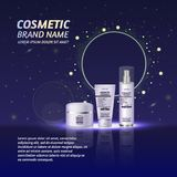 3D realistic cosmetic bottle ads template. Cosmetic brand advertising concept design with glitters and sparkles abstract sky backg Stock Images