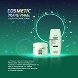 3D realistic cosmetic bottle ads template. Cosmetic brand advertising concept design with glitters and sparkles abstract sky backg. Round Stock Image