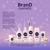 3D realistic cosmetic bottle ads template. Cosmetic brand advertising concept design on glowing background with pearls and sparkle. S Royalty Free Stock Image
