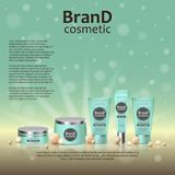 3D realistic cosmetic bottle ads template. Cosmetic brand advertising concept design on glowing background with pearls and sparkle. S Stock Photos