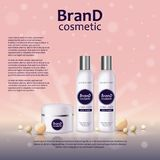3D realistic cosmetic bottle ads template. Cosmetic brand advertising concept design on glowing background with pearls and sparkle. S Stock Image