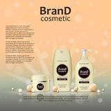 3D realistic cosmetic bottle ads template. Cosmetic brand advertising concept design on glowing background with pearls and sparkle. S Stock Photo