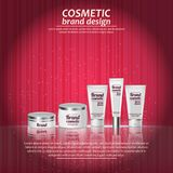 3D realistic cosmetic bottle ads template. Cosmetic brand advertising concept design with glowing sparkles on abstract texture bac Royalty Free Stock Photography
