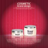 3D realistic cosmetic bottle ads template. Cosmetic brand advertising concept design with glowing sparkles on abstract texture bac Royalty Free Stock Image