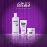 3D realistic cosmetic bottle ads template. Cosmetic brand advertising concept design with glowing sparkles on abstract texture bac Stock Photo