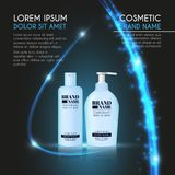 3D realistic cosmetic bottle ads template. Cosmetic brand advertising concept design with glowing sparkles and glitters abstract b. Ackground Royalty Free Stock Image