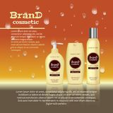 3D realistic cosmetic bottle ads template. Cosmetic brand advertising concept design with water bubbles and waterdrops background Royalty Free Stock Photography