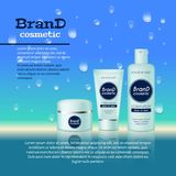 3D realistic cosmetic bottle ads template. Cosmetic brand advertising concept design with water bubbles and waterdrops background Stock Photography