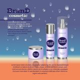 3D realistic cosmetic bottle ads template. Cosmetic brand advertising concept design with water bubbles and waterdrops background Stock Photos