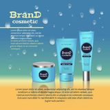 3D realistic cosmetic bottle ads template. Cosmetic brand advertising concept design with water bubbles and waterdrops background Stock Images