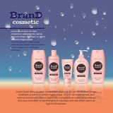 3D realistic cosmetic bottle ads template. Cosmetic brand advertising concept design with water bubbles and waterdrops background Stock Photo