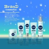 3D realistic cosmetic bottle ads template. Cosmetic brand advertising concept design with water bubbles and waterdrops background.  Royalty Free Stock Photos