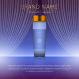 3D realistic cosmetic bottle ads template. Cosmetic brand advertising concept design with wavy light abstract background.  Royalty Free Stock Images