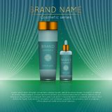 3D realistic cosmetic bottle ads template. Cosmetic brand advertising concept design with wavy light abstract background.  Royalty Free Stock Photography