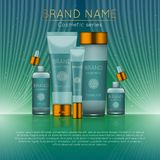 3D realistic cosmetic bottle ads template. Cosmetic brand advertising concept design with wavy light abstract background.  Stock Image
