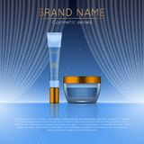 3D realistic cosmetic bottle ads template. Cosmetic brand advertising concept design with wavy light abstract background.  Stock Photography