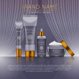 3D realistic cosmetic bottle ads template. Cosmetic brand advertising concept design with wavy light abstract background.  Stock Images