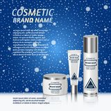 3D realistic cosmetic bottle ads template. Cosmetic brand advertising concept design on winter background with snowflakes Stock Images
