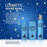 3D realistic cosmetic bottle ads template. Cosmetic brand advertising concept design on winter background with snowflakes Stock Photo