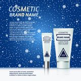 3D realistic cosmetic bottle ads template. Cosmetic brand advertising concept design on winter background with snowflakes Royalty Free Stock Image