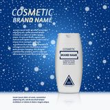 3D realistic cosmetic bottle ads template. Cosmetic brand advertising concept design on winter background with snowflakes Royalty Free Stock Photography