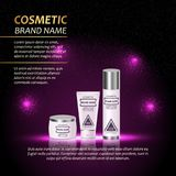 3D realistic cosmetic bottle ads template. Cosmetic brand advertising concept design with abstract glowing lights and sparkles bac Stock Image