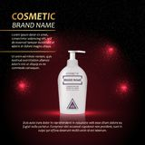 3D realistic cosmetic bottle ads template. Cosmetic brand advertising concept design with abstract glowing lights and sparkles bac Royalty Free Stock Images