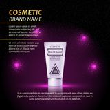 3D realistic cosmetic bottle ads template. Cosmetic brand advertising concept design with abstract glowing lights and sparkles bac Royalty Free Stock Image
